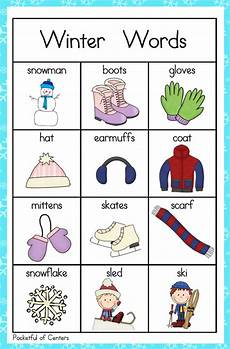 winter words worksheets 20121 pocketful of centers winter