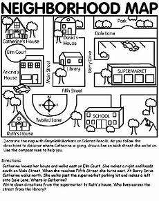 easy mapping worksheets 11537 here s a simple neighborhood map coloring page with images social studies maps teaching