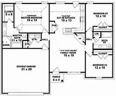 653788 one story 3 bedroom 2 bath traditional style house plan house plans floor
