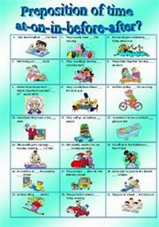 prepositions of time at on in before after esl