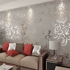 New Designer Flocking Textured Grey Color Wallpapers