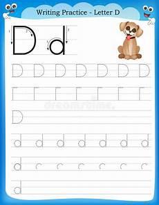 preschool writing worksheets letter d 24188 writing practice letter d stock vector illustration of lined 50726421