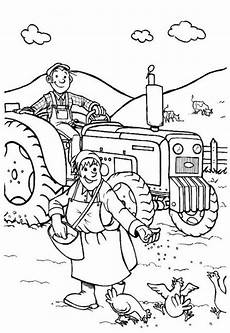of farmer in the farm coloring page coloring sky