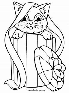 cats and kittens adorable cat inside a gift box coloring