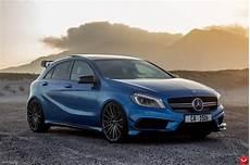 Mercedes Amg A45 - stunning blue mercedes a45 amg poses gtspirit