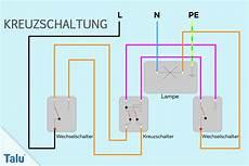 kreuzschaltung schaltplan f 252 r wechselschalter mit 3 4