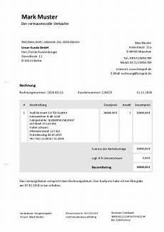 rechnung f 252 r autoverkauf schreiben kostenlose vorlage