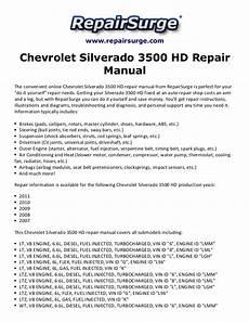 car repair manual download 2002 chevrolet silverado user handbook chevrolet silverado 3500 hd repair manual 2007 2011