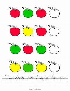 complete the apple pattern worksheet twisty noodle