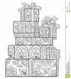 adult coloring book page a christmas gift with decoration