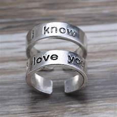 i love you i know silver couples ring anniversary ring