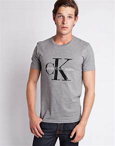 calvin klein classic t shirt grey in gray for lyst