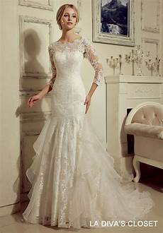 modest wedding gowns with 3 4 sleeves formal modest lace wedding dress with 3 4 lace sleeves ebay