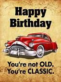 Classic Car Happy Birthday Card  & Greeting