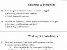 probability worksheet with answers tes 5990 gcse maths outcome probability worksheet by theeducationspecialist teaching resources