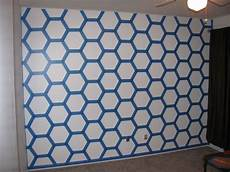 all taped and ready to paint honeycomb wall paint painters tape design wall painting color