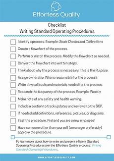 writing standard operating procedures checklist with