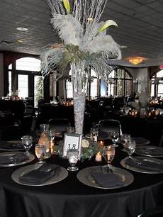 red black and silver wedding centerpieces feathered centerpiece red black and silver wedding