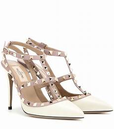 valentino rockstud leather pumps in white lyst