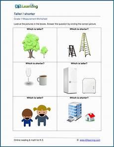 math measurement worksheets grade 1 1747 grade 1 length worksheets which object is taller shorter k5 learning