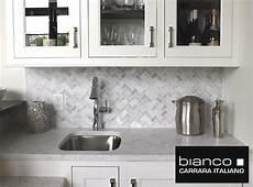 Carrara Marble Kitchen Backsplash Carrara Bianco Herringbone Backsplash Mosaic Tile The