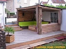 construire une terrasse en palette torpoon home creation terrasse en palettes et abri ext 233 rieur