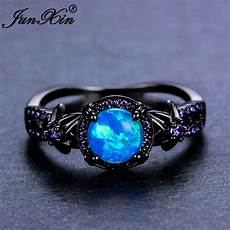 blue opal wedding rings blue fire opal star flower amethyst ring black gold wedding band size 6 10 ebay