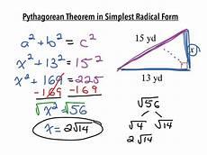 pythagorean theorem in simplest radical form math algebra pythagorean theorem showme