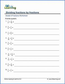division of fractions worksheets for grade 5 4229 grade 5 math worksheets dividing fractions by fractions k5 learning