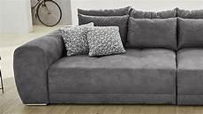 microfaser sofa big sofa moldau xxl couch microfaser dunkelgrau kissen