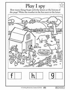 kindergarten preschool reading worksheets play i spy on the farm greatschools