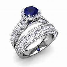 bridal platinum heirloom diamond sapphire engagement