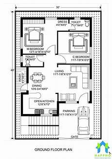 30x40 house plans floor plan for 30 x 40 feet plot 2 bhk 1200 square feet