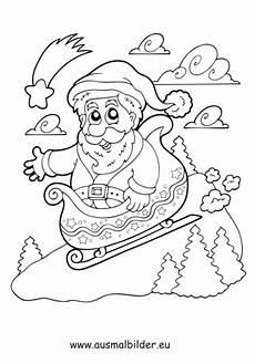 ausmalbilder nikolaus auf schlitten weihnachten malvorlagen
