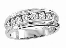 14k mens white gold diamond channel milgrain wedding band ring 1 0 ct ebay