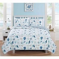 blue white seashells themed quilt twin set coastal bedding beach ocean sea 8291986286058 ebay