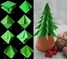 Weihnachtsdeko Basteln Aus Papier - tannenbaum falten aus verschiedenen materialien