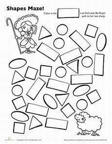 shape maze worksheet 1194 bo peep shape maze worksheet education