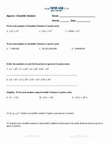 worksheet scientific notation write and order numbers