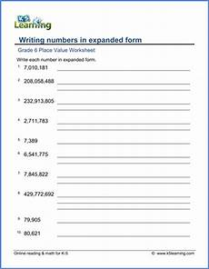 decimal expansion worksheets 7117 grade 6 math worksheet place value writing numbers in expanded form k5 learning