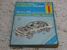 service repair manual free download 1981 plymouth reliant on board diagnostic system haynes auto repair manual dodge aries plymouth reliant k car 1981 1989 new 723 ebay
