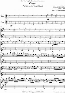 sheet music for canon flute and violin by johann pachelbel