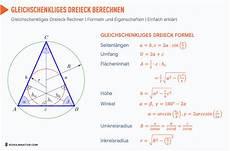 gleichschenkliges dreieck formel fl 228 che umfang h 246 he