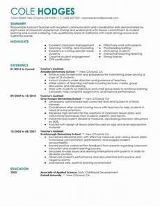 best assistant teacher resume exle livecareer