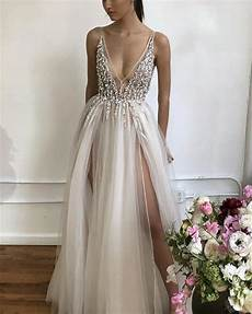 2019 prom dresses long tulle v neck evening gowns sequin beaded slayingdress