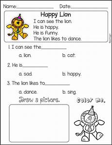 pre kindergarten english worksheets reading comprehension and sentence building first edition