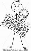 Cartoon Of Businessman Holding Big Hand Rubber Approved