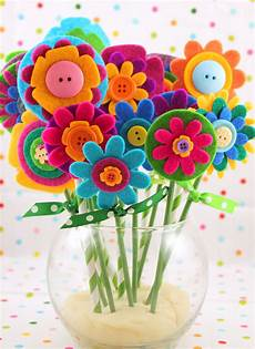 Blume Basteln Kinder - easy s day gift felt flowers happiness