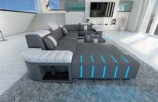 sofa mit led upholstered sofa interior design bellagio u shape couch