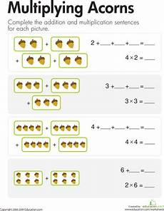 multiplication worksheets for grade 1 with pictures 4909 multiplication add multiply acorns con im 225 genes gr 225 ficos de barras material educativo
